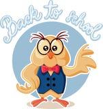 Ejemplo lindo de Owl Wearing Eyeglasses Cartoon Vector Fotos de archivo libres de regalías