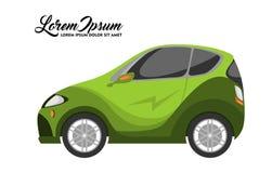 Ejemplo lindo del diseño del coche de la ciudad, serie verde ilustración del vector
