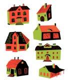 Ejemplo lindo del vector con las casas del garabato Drawin de la arquitectura ilustración del vector