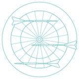 Ejemplo lindo del vector de la blanco y de las flechas para los dardos Spo stock de ilustración