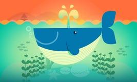 Ejemplo lindo del vector de la historieta de la ballena y de los pescados ilustración del vector