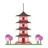 Ejemplo lindo del vector de la historieta de una pagoda budista Foto de archivo libre de regalías