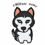 Ejemplo lindo del vector de la historieta del perro del husky siberiano ilustración del vector