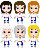 Ejemplo lindo del vector de las muchachas en traje étnico ilustración del vector