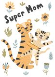 Ejemplo lindo del vector de los tigres de la madre y del bebé ilustración del vector