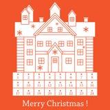 Ejemplo lindo del vector: La Navidad Advent Calendar Stock de ilustración