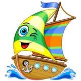 Ejemplo lindo del vector del personaje de dibujos animados del barco de navegación stock de ilustración