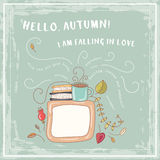 Ejemplo lindo dibujado mano del vector del garabato Tarjeta del otoño blank Ponga su texto aquí Fotos de archivo libres de regalías