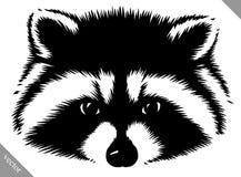 Ejemplo linear blanco y negro del vector del mapache del drenaje de la pintura Fotos de archivo libres de regalías