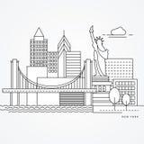 Ejemplo linear línea plana estilo de Nueva York, los E.E.U.U. una La señal más grande - estatua de la libertad ilustración del vector