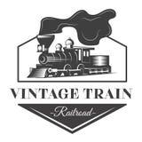 Ejemplo locomotor del emblema en estilo del monocromo del vintage Foto de archivo libre de regalías
