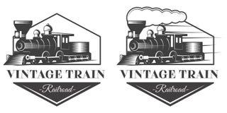 Ejemplo locomotor del emblema en estilo del monocromo del vintage Fotos de archivo