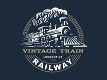 Ejemplo locomotor del logotipo, emblema del estilo del vintage fotografía de archivo