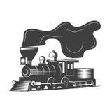 Ejemplo locomotor del vector en estilo monocromático del vintage Imagen de archivo libre de regalías
