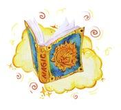 Ejemplo mágico de la acuarela con los elementos artísticos dibujados mano aislados en el fondo blanco - abra el libro del encanto ilustración del vector