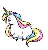 Ejemplo mágico de la historieta de la melena del arco iris del unicornio Fotos de archivo