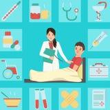 Ejemplo médico de un paciente de examen del doctor Ilustración del Vector