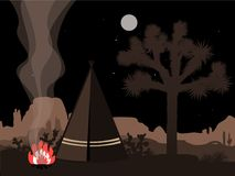 Ejemplo místico del amd hermoso con la tienda de los indios norteamericanos, el fuego, y la silueta indios de la yuca Fotos de archivo libres de regalías