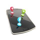 Ejemplo móvil del concepto de la navegación de los gps Imagenes de archivo