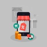 Ejemplo móvil del concepto de las compras del vector Fotografía de archivo libre de regalías