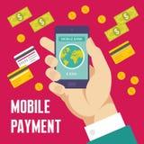 Ejemplo móvil del pago en estilo plano del diseño Foto de archivo