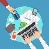 Ejemplo móvil del vector de los pagos actividades bancarias móviles o actividades bancarias en línea Manos humanas overhead Siste Fotografía de archivo libre de regalías