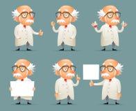 Ejemplo móvil del vector del juego del viejo del científico de Character Icons Set diseño retro de la historieta Fotos de archivo libres de regalías