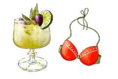 Ejemplo a mano de Colorfu del smoothie delicioso de la fruta fresca y del top del traje de baño de la playa Cóctel fresco del ver ilustración del vector