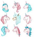 Ejemplo a mano de la acuarela de nueve rosa vibrante y unicornios azules y alpaca aislados en el fondo blanco stock de ilustración