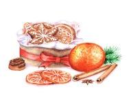 Ejemplo a mano del Año Nuevo de la acuarela con las galletas del jengibre en la caja y la naranja aisladas en el fondo blanco Fotos de archivo libres de regalías