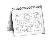 Ejemplo a mano del calendario de escritorio Foto de archivo
