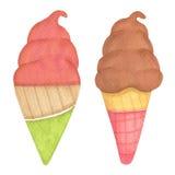 Ejemplo a mano del helado Fotografía de archivo