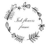 Ejemplo a mano del marco floral Imagenes de archivo