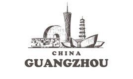 Ejemplo a mano del vector del bosquejo de los elementos de los edificios de Guangzhou libre illustration