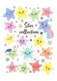 Ejemplo a mano sonriente del vector de las peque?as estrellas del kawaii lindo para los ni?os Sistema de las etiquetas engomadas  libre illustration