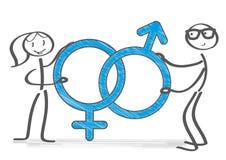Ejemplo masculino y femenino del símbolo libre illustration