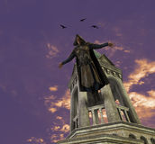 Ejemplo medieval de Jumping From Tower del asesino Foto de archivo