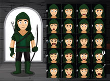 Ejemplo medieval de Robin Hood Cartoon Emotion Faces Vector Foto de archivo libre de regalías