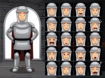 Ejemplo medieval del vector de Cartoon Emotion Faces del caballero Imagen de archivo