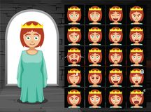 Ejemplo medieval del vector de princesa Cartoon Emotion Faces Fotografía de archivo