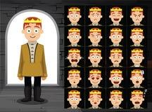 Ejemplo medieval del vector de príncipe Cartoon Emotion Faces Foto de archivo libre de regalías