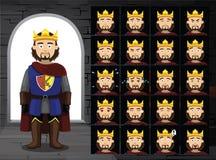 Ejemplo medieval del vector de rey Cartoon Emotion Faces Imágenes de archivo libres de regalías