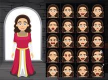 Ejemplo medieval del vector de señora Cartoon Emotion Faces Foto de archivo libre de regalías