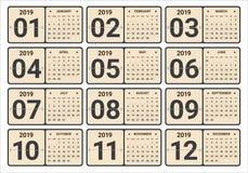 Ejemplo mensual del vector del calendario del año 2019 fotos de archivo libres de regalías
