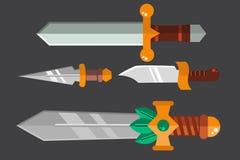 Ejemplo metálico peligroso del vector de la espada del arma del cuchillo del sistema afilado lanza de la espada ilustración del vector