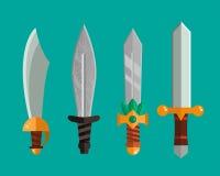 Ejemplo metálico peligroso del vector de la espada del arma del cuchillo del sistema afilado lanza de la espada stock de ilustración