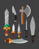Ejemplo metálico peligroso del vector del arma del cuchillo del sistema afilado lanza de la espada stock de ilustración