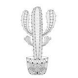 Ejemplo mexicano del vector del cactus de Zentangle Esquema dibujado mano stock de ilustración