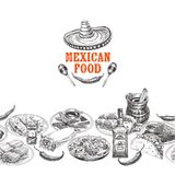 Ejemplo mexicano dibujado mano del bosquejo de la comida del vector del vintage Fotografía de archivo