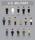 Ejemplo militar del vector de los personajes de dibujos animados de los E.E.U.U. Unifrom ilustración del vector